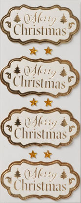 W-Sticker, Merry christmas offwhite/gold