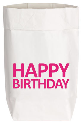Paperbags Small weiss, HAPPY BIRTHDAY, neon pink