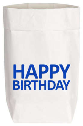 Paperbags Small weiss, HAPPY BIRTHDAY, blau