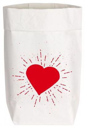 Paperbags Small weiss, HERZ, rot1730 - HOME - PSW