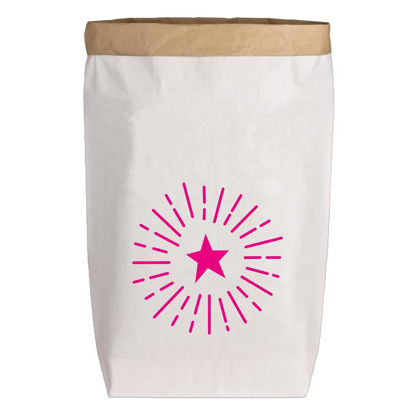 Paperbags Large weiss, SPARKLING STAR, neon pink