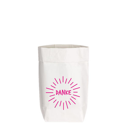 PaperBags Small weiss, DANKE, neon pink