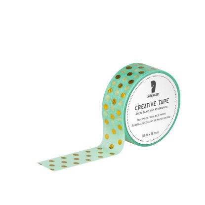Creative Tape HF/Gold Dots auf Mint - 10