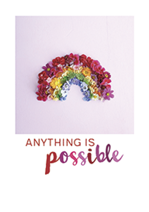 Anything is possible... (Regenbogen),  runnerkimhall, Postkarten A5, englisch, Hoch, Sprüche, Invercote, Mattlack