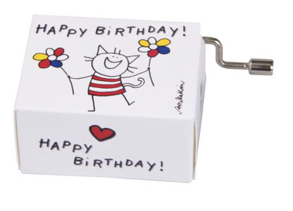 """Happy Birthday"" Katze 8.3x4.7x3.3cm"