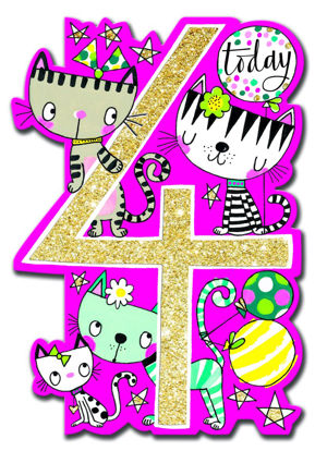 Little Darlings - Age 4 Girl/Cats Doppelkarte mit Couvert