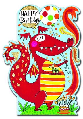 Little Darlings - Happy Birthday Red Dra Doppelkarte mit Couvert