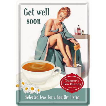 Get Well Soon Say it 50's / Metal Card 10x14 / A400