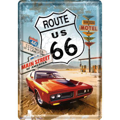 Route 66 Red Car, US Highways Metal Card, 14x0x10 cm/A400