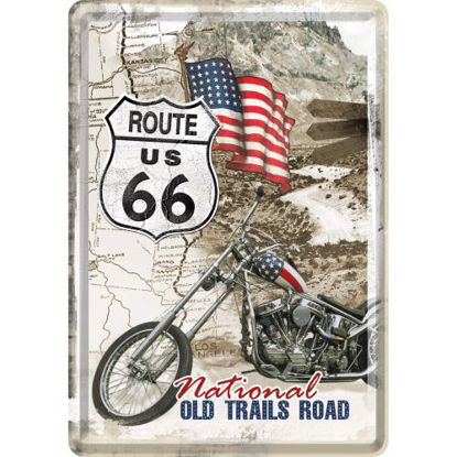 Route 66 Old Trails Road, US Highways Metal Card, 14x0x10 cm/A400