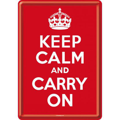 Keep Calm and Carry On, Achtung Metal Card, 14x0x10 cm/A400