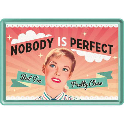 Nobody Is Perfect, Say it 50's Metal Card, 14x0x10 cm/A400