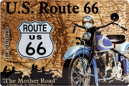 Route 66 Map, Tin Sign 20x30 / A402