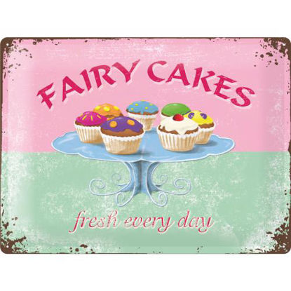 Fairy Cakes - Fresh every Day, Home & Co Tin Sign 30 x 40cm/A403