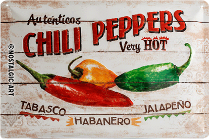 Chili Peppers, Home & Country, Tin Sign 20 x 30cm/A402