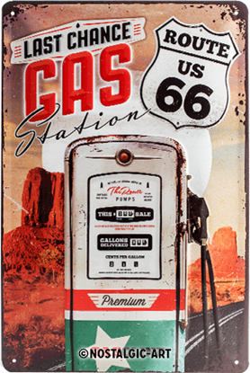 Route 66 Gas Station, US Highways, Tin Sign 20 x 30cm/A402