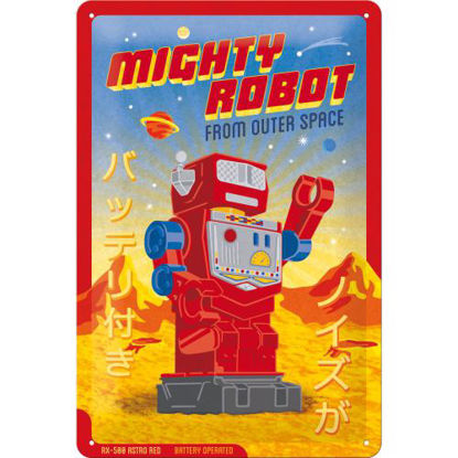 Mighty Robot, Achtung Tin Sign 20 x 30cm/A402
