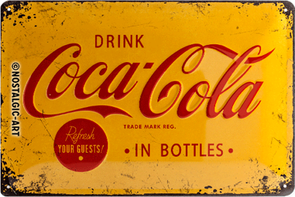 Coca-Cola - Logo Yellow, Coca-Cola, Tin Sign 20 x 30cm/A402
