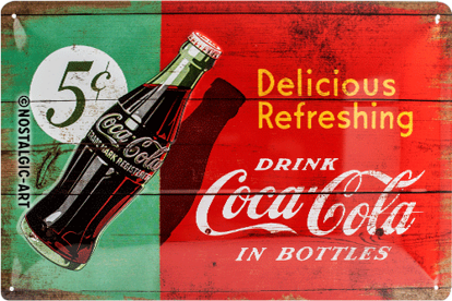Coca-Cola - Delicious Refreshing Green,, Tin Sign 20 x 30cm/A402
