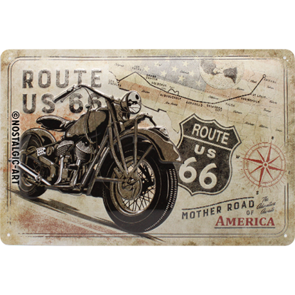 Route 66 Bike Map, US Highways, Tin Sign 20 x 30cm/A402