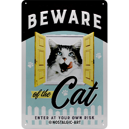Beware of the Cat, Animal Club, Tin Sign 20 x 30cm/A402