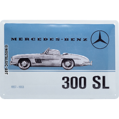 Mercedes-Benz - 300 SL Blue, Mercedes-Be, Tin Sign 20 x 30cm/A402