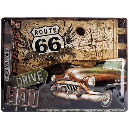 Route 66 Road Trip, US Highways, Tin Sign 30 x 40cm/A403
