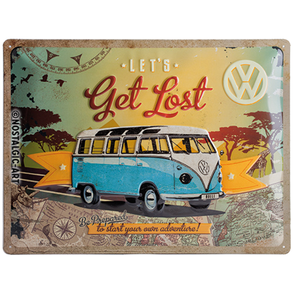 VW Bulli - Let's Get Lost, Volkswagen, Tin Sign 30 x 40cm/A403