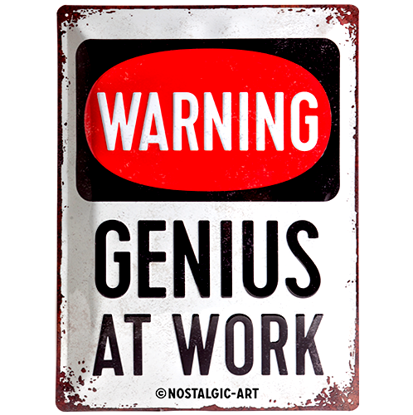 Genius at Work, Achtung, Tin Sign 30 x 40cm/A403