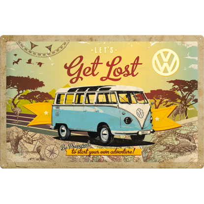 VW Bulli - Let's Get Lost, Volkswagen, Tin Sign 40 x 60cm/A403