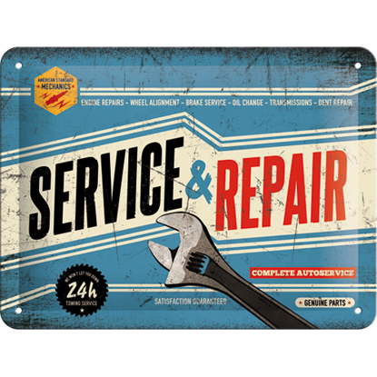 Service & Repair, Best Garage, Tin Sign 15 x 20cm