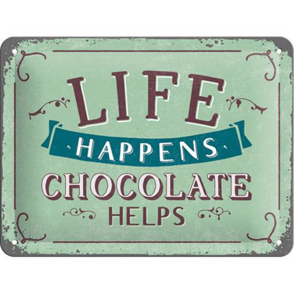 Life Happens - Chocolate Helps, Word Up Tin Sign 15 x 20cm
