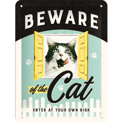 Beware of the Cat, Animal Club Tin Sign 15 x 20cm