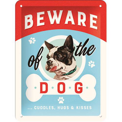 Beware of the Dog ...Kisses, Animal Club Tin Sign 15 x 20cm