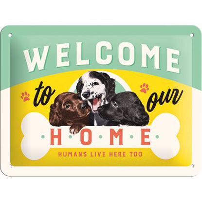 Welcome Puppies, Animal Club Tin Sign 15 x 20cm