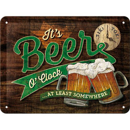Beer O' Clock Glasses, Open Bar Tin Sign 15 x 20cm