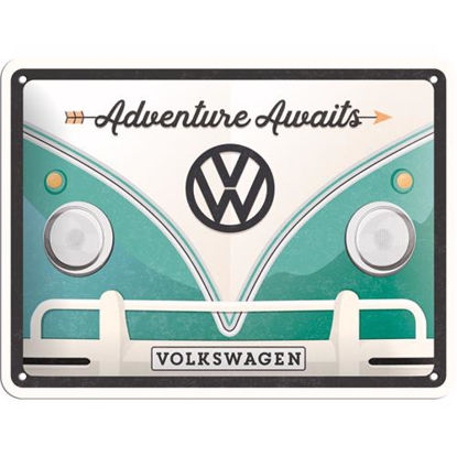 VW Bulli - Adventure Awaits, Volkswagen Tin Sign 15 x 20cm
