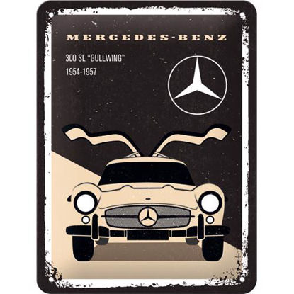 Mercedes-Benz - 300 SL Beige, Mercedes-B Tin Sign 15 x 20cm