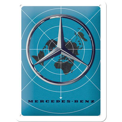 Mercedes-Benz - Blue Map, Mercedes-Benz Tin Sign 15 x 20cm