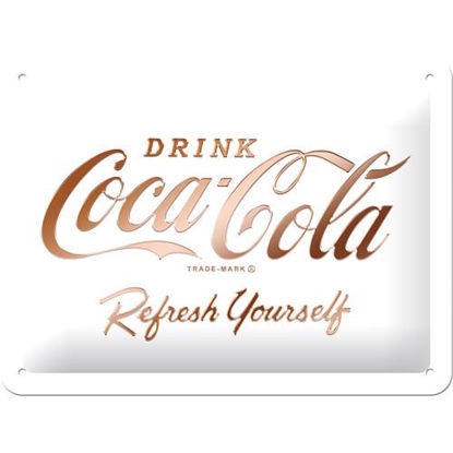 Coca-Cola - Logo White Refresh Yourself, Tin Sign 15 x 20cm