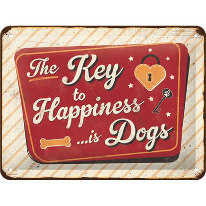 PfotenSchild - Key to Happiness, PfotenS Tin Sign 15 x 20cm