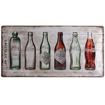 Coca-Cola - Bottle Timeline, Coca-Cola, Tin Sign 25 x 50cm
