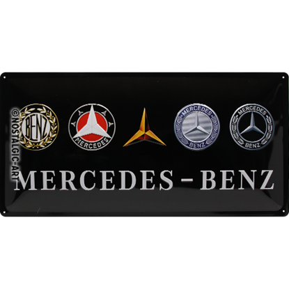 Mercedes-Benz - Logo Evolution, Mercedes, Tin Sign 25 x 50cm