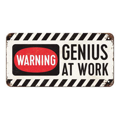 Genius at Work, Achtung, Hanging Sign, 20x0x10 cm