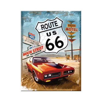 Route 66 Red Car, US Highways Magnet, 8x0x6 cm/A401
