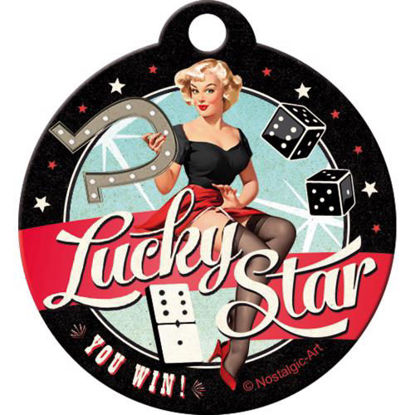 Lucky Star, Pin UpKey Chain Round, 4x0x4 cm/A410