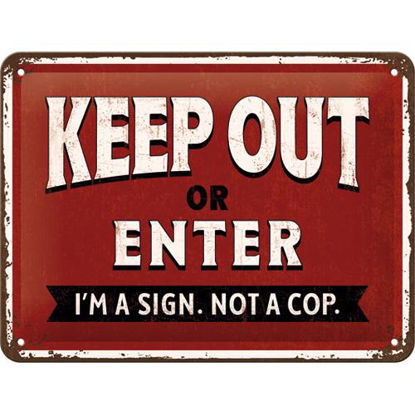 Keep Out or Enter, Achtung Tin Sign 15 x 20cm