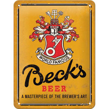 Beck's - World Famous Yellow, Beck's Tin Sign 15 x 20cm