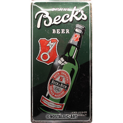 Beck's - Drink Beer Bottle, Beck's, Tin Sign 25 x 50cm