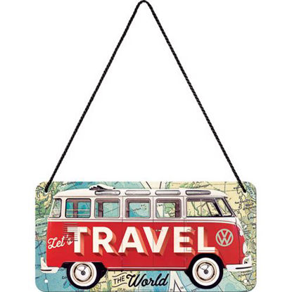 VW Bulli - Let's Travel The World, Volks Hanging Sign, 20x0x10 cm